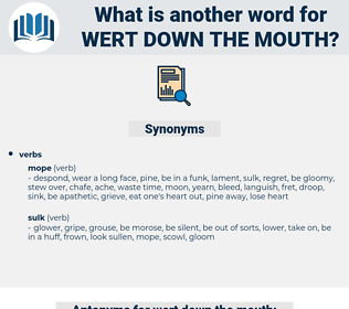 wert down the mouth, synonym wert down the mouth, another word for wert down the mouth, words like wert down the mouth, thesaurus wert down the mouth