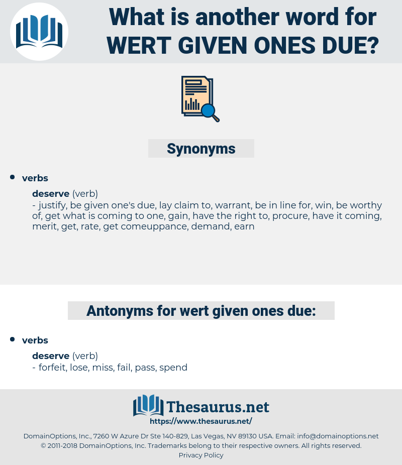 wert given ones due, synonym wert given ones due, another word for wert given ones due, words like wert given ones due, thesaurus wert given ones due