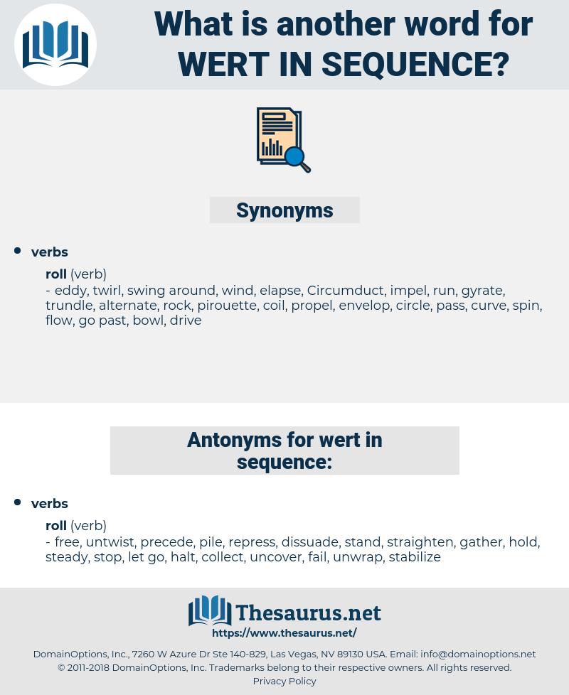 wert in sequence, synonym wert in sequence, another word for wert in sequence, words like wert in sequence, thesaurus wert in sequence