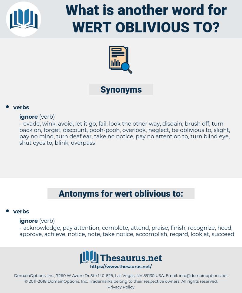 wert oblivious to, synonym wert oblivious to, another word for wert oblivious to, words like wert oblivious to, thesaurus wert oblivious to