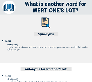 wert one's lot, synonym wert one's lot, another word for wert one's lot, words like wert one's lot, thesaurus wert one's lot