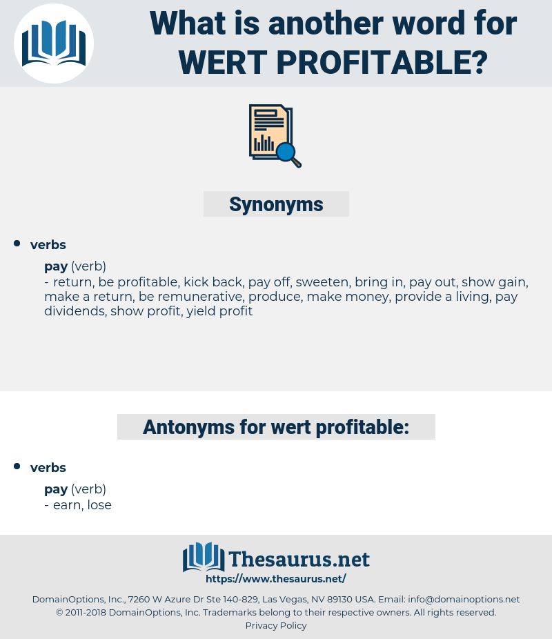 wert profitable, synonym wert profitable, another word for wert profitable, words like wert profitable, thesaurus wert profitable