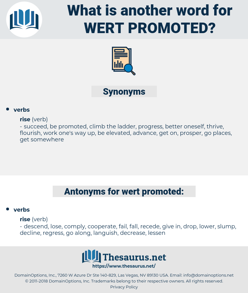 wert promoted, synonym wert promoted, another word for wert promoted, words like wert promoted, thesaurus wert promoted