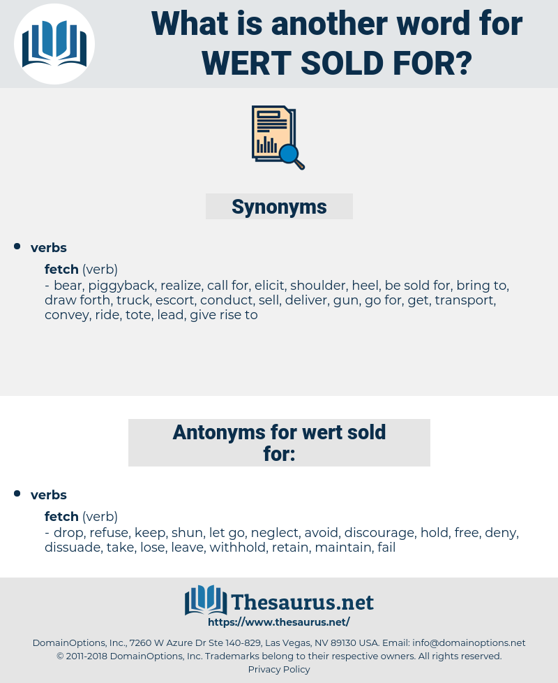 wert sold for, synonym wert sold for, another word for wert sold for, words like wert sold for, thesaurus wert sold for