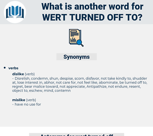 wert turned off to, synonym wert turned off to, another word for wert turned off to, words like wert turned off to, thesaurus wert turned off to