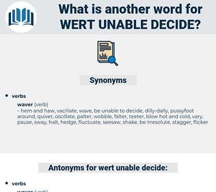 wert unable decide, synonym wert unable decide, another word for wert unable decide, words like wert unable decide, thesaurus wert unable decide