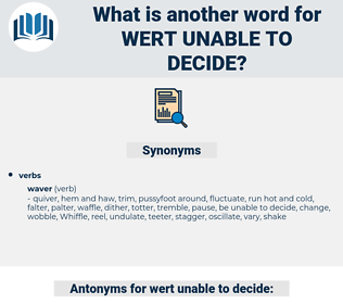wert unable to decide, synonym wert unable to decide, another word for wert unable to decide, words like wert unable to decide, thesaurus wert unable to decide
