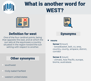 west, synonym west, another word for west, words like west, thesaurus west