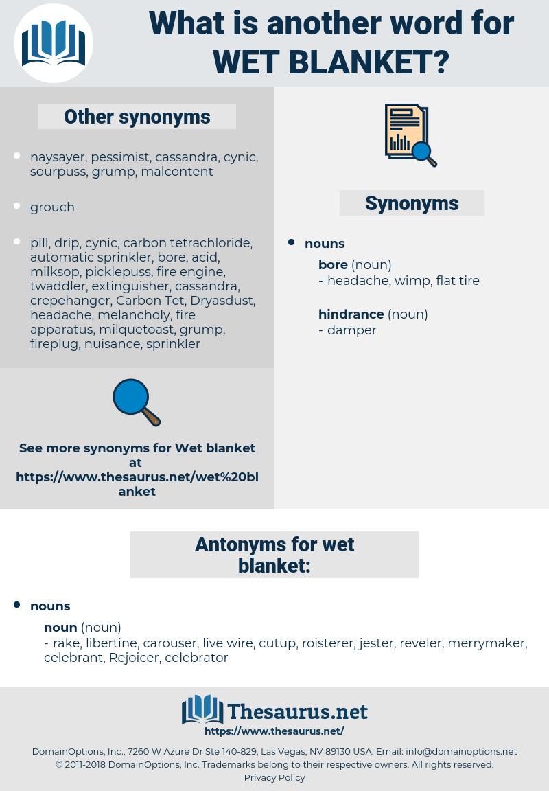 wet blanket, synonym wet blanket, another word for wet blanket, words like wet blanket, thesaurus wet blanket