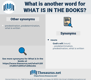 what is in the books, synonym what is in the books, another word for what is in the books, words like what is in the books, thesaurus what is in the books