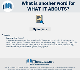 what it abouts, synonym what it abouts, another word for what it abouts, words like what it abouts, thesaurus what it abouts