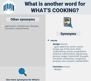 what's cooking, synonym what's cooking, another word for what's cooking, words like what's cooking, thesaurus what's cooking
