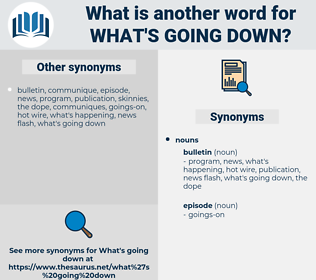 what's going down, synonym what's going down, another word for what's going down, words like what's going down, thesaurus what's going down