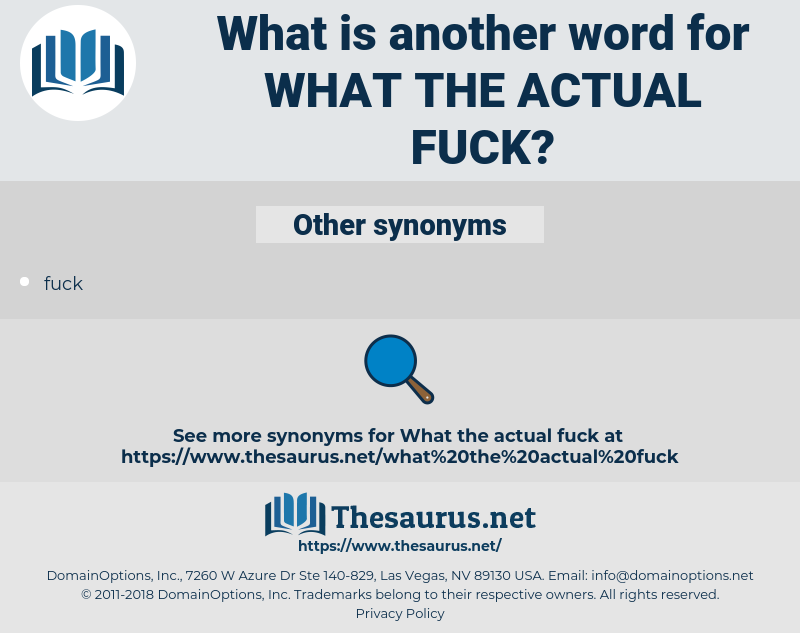 Synonyms For What The Actual Fuck Thesaurus Net