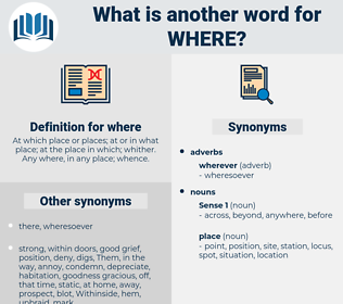 where, synonym where, another word for where, words like where, thesaurus where