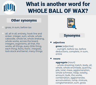 whole ball of wax, synonym whole ball of wax, another word for whole ball of wax, words like whole ball of wax, thesaurus whole ball of wax