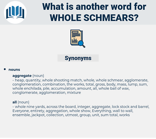whole schmears, synonym whole schmears, another word for whole schmears, words like whole schmears, thesaurus whole schmears