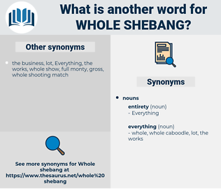 whole shebang, synonym whole shebang, another word for whole shebang, words like whole shebang, thesaurus whole shebang