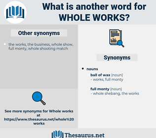 whole works, synonym whole works, another word for whole works, words like whole works, thesaurus whole works