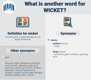 wicket, synonym wicket, another word for wicket, words like wicket, thesaurus wicket