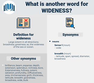 wideness, synonym wideness, another word for wideness, words like wideness, thesaurus wideness