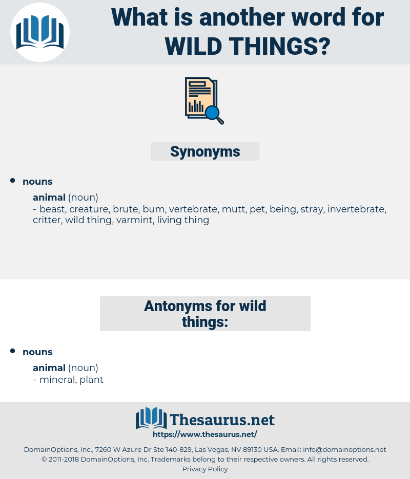 wild things, synonym wild things, another word for wild things, words like wild things, thesaurus wild things