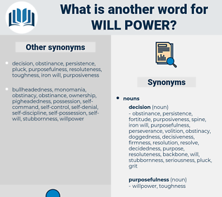 will power, synonym will power, another word for will power, words like will power, thesaurus will power