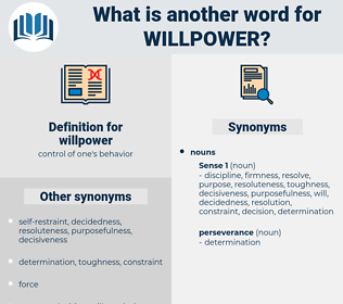 willpower, synonym willpower, another word for willpower, words like willpower, thesaurus willpower