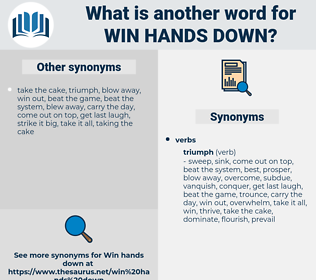 win hands down, synonym win hands down, another word for win hands down, words like win hands down, thesaurus win hands down