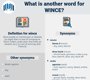 wince, synonym wince, another word for wince, words like wince, thesaurus wince