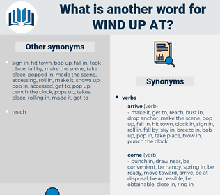 wind up at, synonym wind up at, another word for wind up at, words like wind up at, thesaurus wind up at