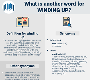 winding up, synonym winding up, another word for winding up, words like winding up, thesaurus winding up