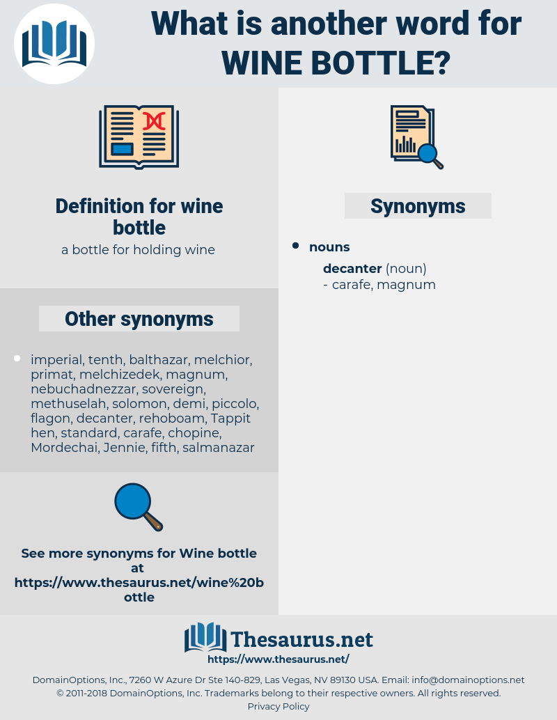 Synonyms for WINE BOTTLE - Thesaurus net
