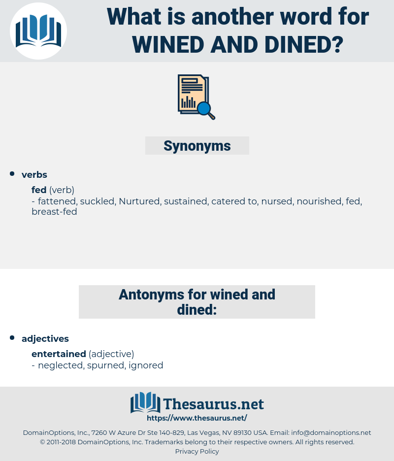wined and dined, synonym wined and dined, another word for wined and dined, words like wined and dined, thesaurus wined and dined