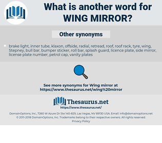 wing mirror, synonym wing mirror, another word for wing mirror, words like wing mirror, thesaurus wing mirror