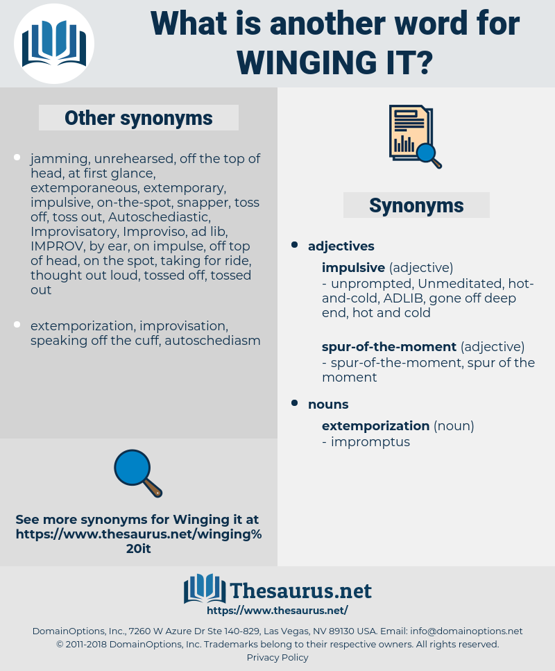 winging it, synonym winging it, another word for winging it, words like winging it, thesaurus winging it