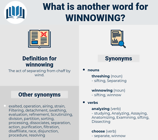 winnowing, synonym winnowing, another word for winnowing, words like winnowing, thesaurus winnowing