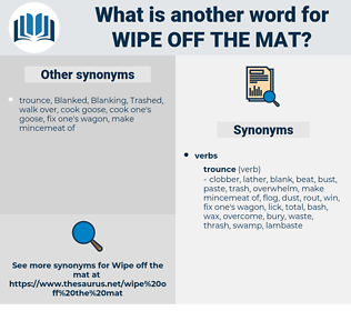 wipe off the mat, synonym wipe off the mat, another word for wipe off the mat, words like wipe off the mat, thesaurus wipe off the mat