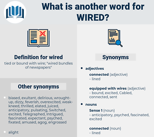 wired, synonym wired, another word for wired, words like wired, thesaurus wired
