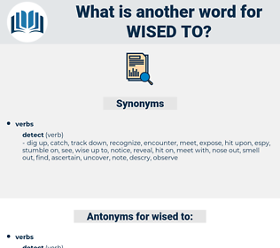 wised to, synonym wised to, another word for wised to, words like wised to, thesaurus wised to