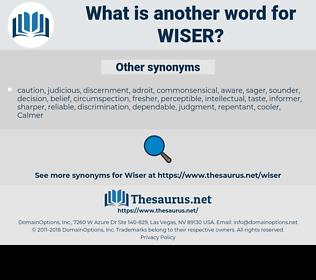 WISER, synonym WISER, another word for WISER, words like WISER, thesaurus WISER