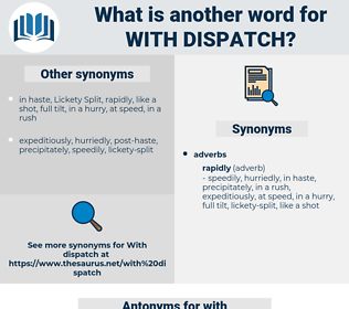 with dispatch, synonym with dispatch, another word for with dispatch, words like with dispatch, thesaurus with dispatch