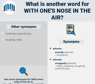 with one's nose in the air, synonym with one's nose in the air, another word for with one's nose in the air, words like with one's nose in the air, thesaurus with one's nose in the air
