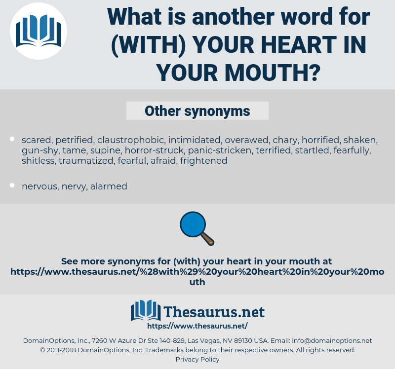 (with) your heart in your mouth, synonym (with) your heart in your mouth, another word for (with) your heart in your mouth, words like (with) your heart in your mouth, thesaurus (with) your heart in your mouth