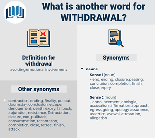 withdrawal, synonym withdrawal, another word for withdrawal, words like withdrawal, thesaurus withdrawal
