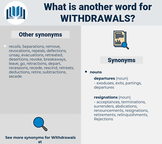 withdrawals, synonym withdrawals, another word for withdrawals, words like withdrawals, thesaurus withdrawals
