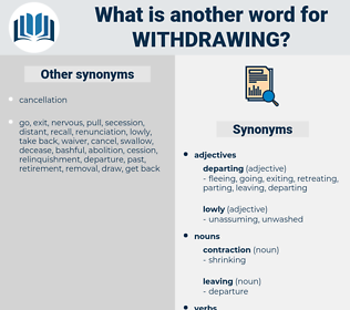 withdrawing, synonym withdrawing, another word for withdrawing, words like withdrawing, thesaurus withdrawing