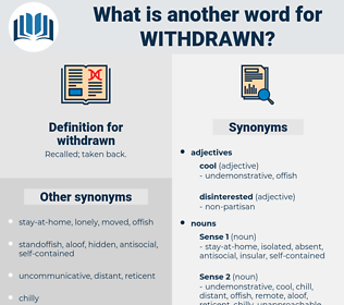 withdrawn, synonym withdrawn, another word for withdrawn, words like withdrawn, thesaurus withdrawn