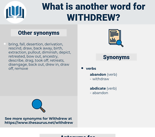 Withdrew, synonym Withdrew, another word for Withdrew, words like Withdrew, thesaurus Withdrew
