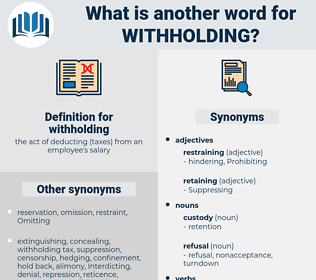 withholding, synonym withholding, another word for withholding, words like withholding, thesaurus withholding